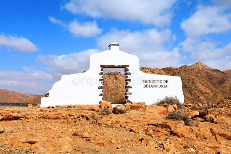自治市签到费埃特文图拉岛。 库存图片