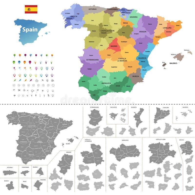 自治社区上色的西班牙地图 向量例证
