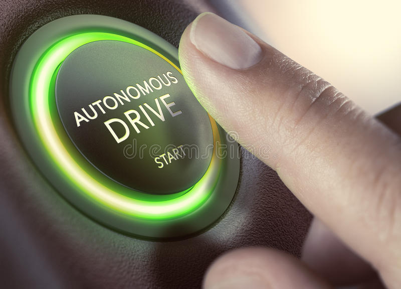 自治驱动,自驾驶车 向量例证