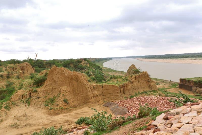 臭名昭著的Chambal谷,叫作dacoits天堂从前 图库摄影