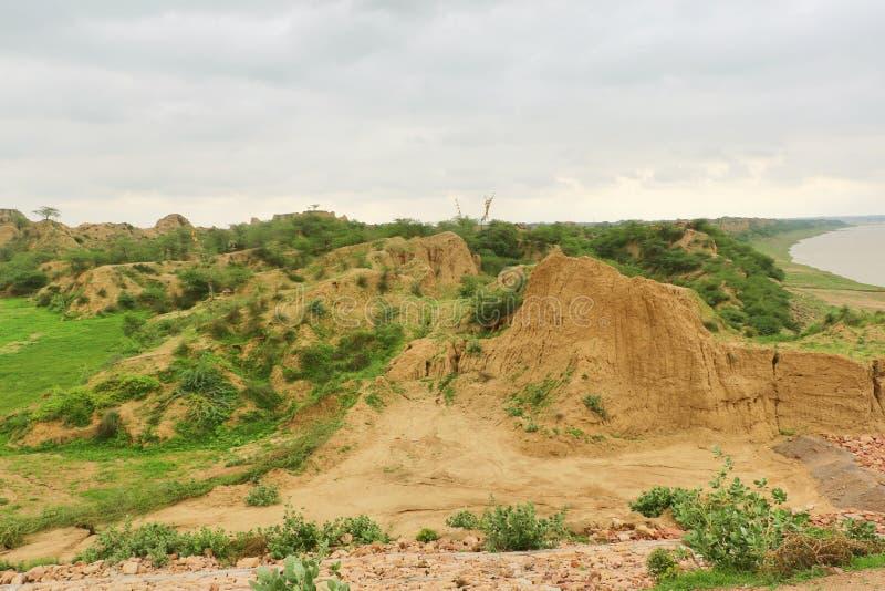 臭名昭著的Chambal谷,叫作dacoits天堂从前 库存图片