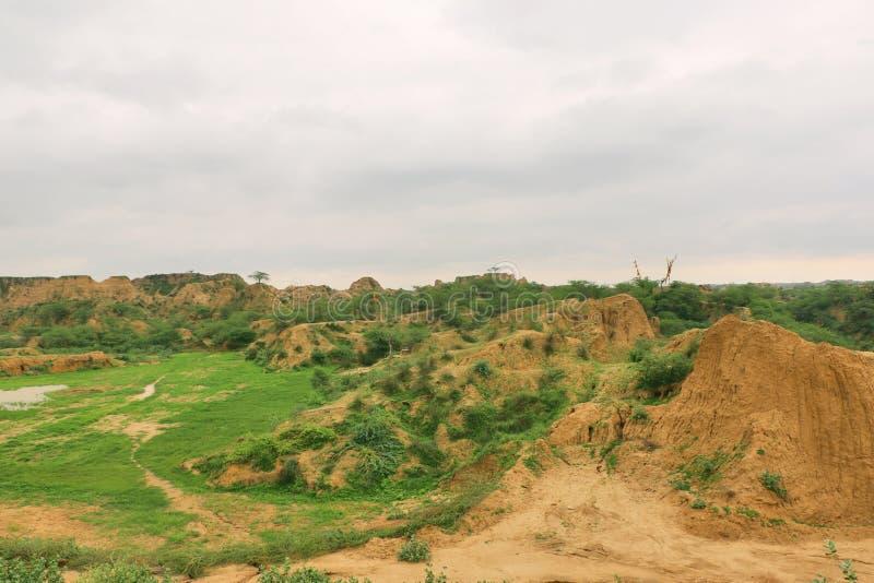 臭名昭著的Chambal谷,叫作dacoits天堂从前 库存照片