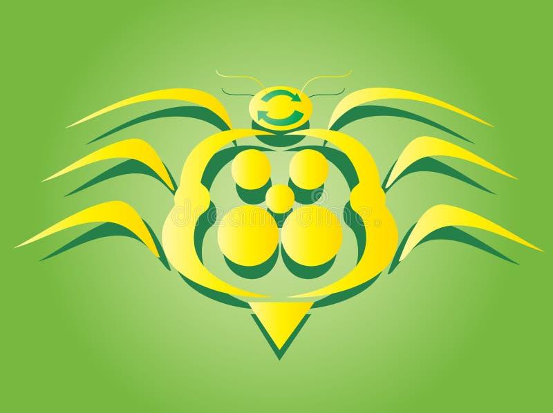 臭虫巨大符号黄色 向量例证