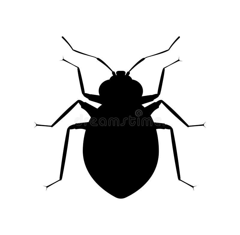 臭虫黑色剪影 虫昆虫象 宠物管理服务或叮咬浪花的标志 向量例证