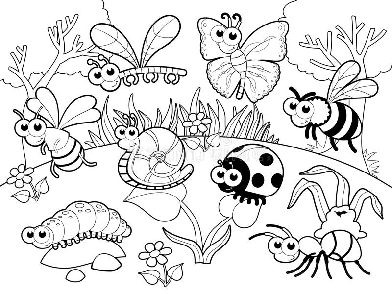 臭虫+ 1只蜗牛有在blach和白色的背景。 库存例证