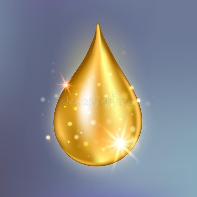 至尊胶原油下落精华 优质金光亮的血清小滴 库存例证