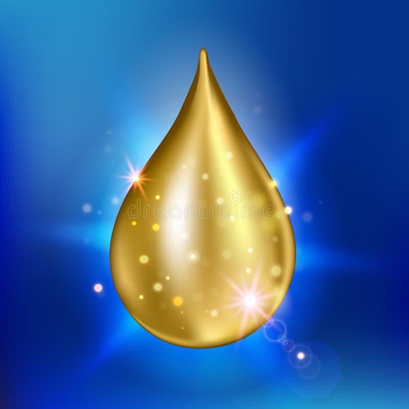 至尊胶原油下落精华 优质光亮的血清小滴 也corel凹道例证向量 向量例证