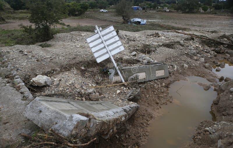 致命的洪水在圣Llorenc和阿尔塔在海岛宽马略卡 免版税库存图片