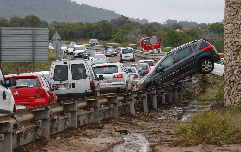 致命的洪水在圣Llorenc和阿尔塔在海岛宽马略卡 库存图片