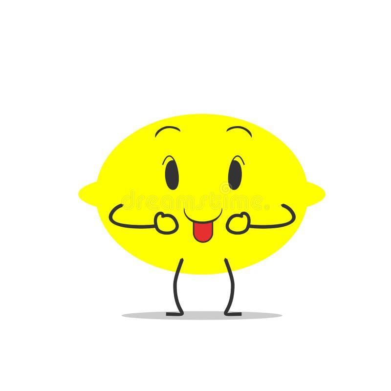 舌头柠檬简单的干净的动画片例证 库存例证