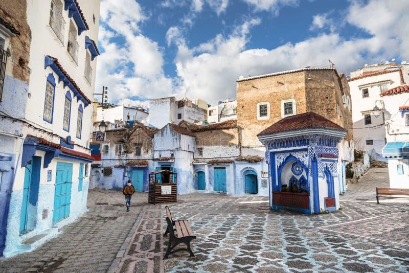 舍夫沙万美丽的蓝色麦地那在摩洛哥 免版税库存照片