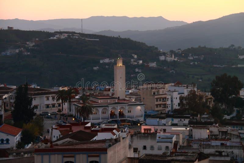 舍夫沙万,摩洛哥村庄的看法,黄昏的 免版税图库摄影