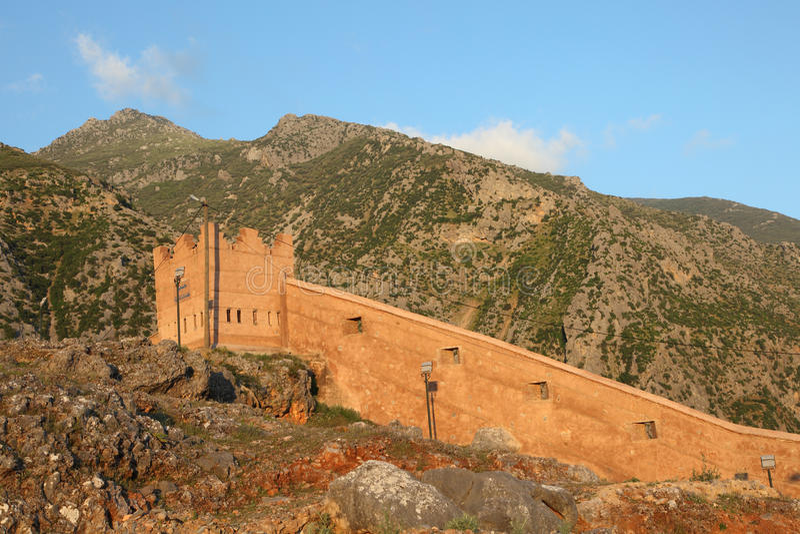 舍夫沙万,摩洛哥城市墙壁  图库摄影
