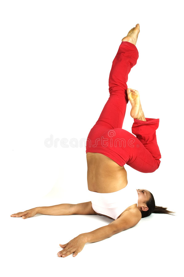 舒展瑜伽 免版税库存图片