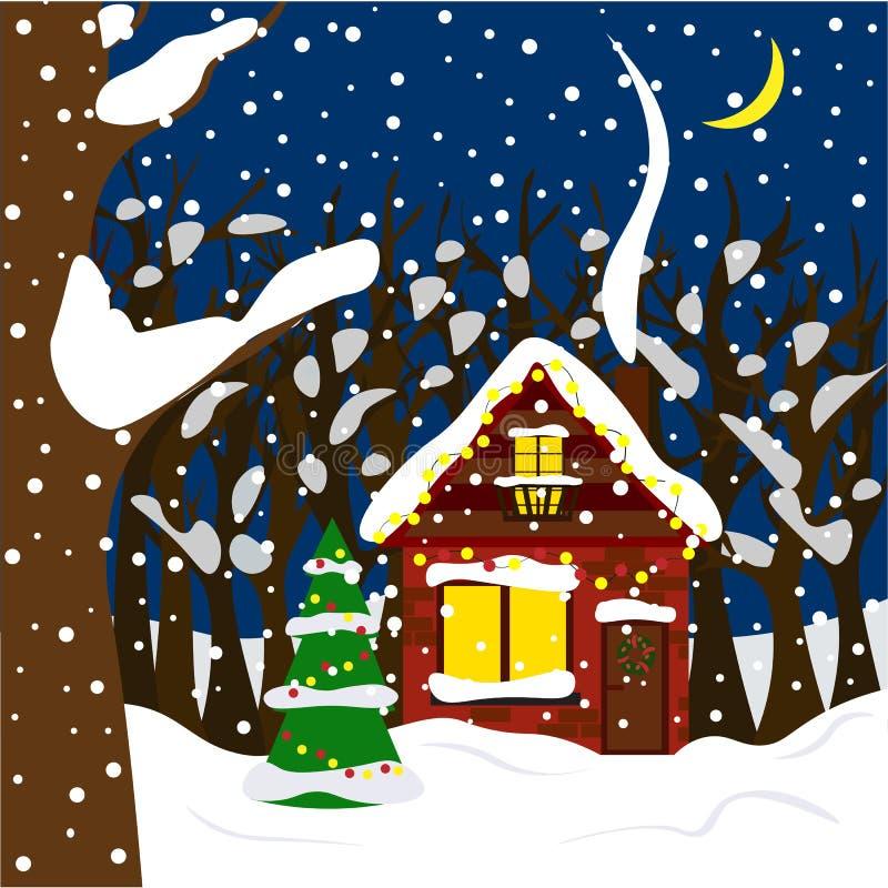 舒适冬天房子在明亮的诗歌选的森林里 在平的样式的例证 库存例证