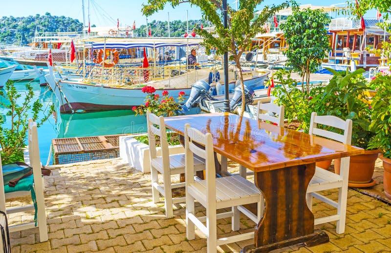 舒适咖啡馆在Ucagiz, Kekova,土耳其 库存图片