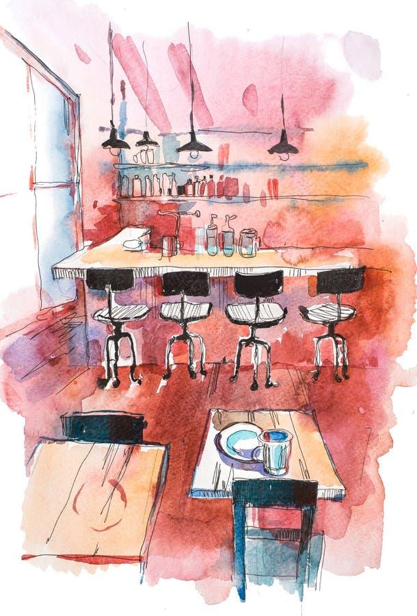 舒适咖啡馆或餐馆内部,空的用餐的地方和酒吧柜台 向量例证