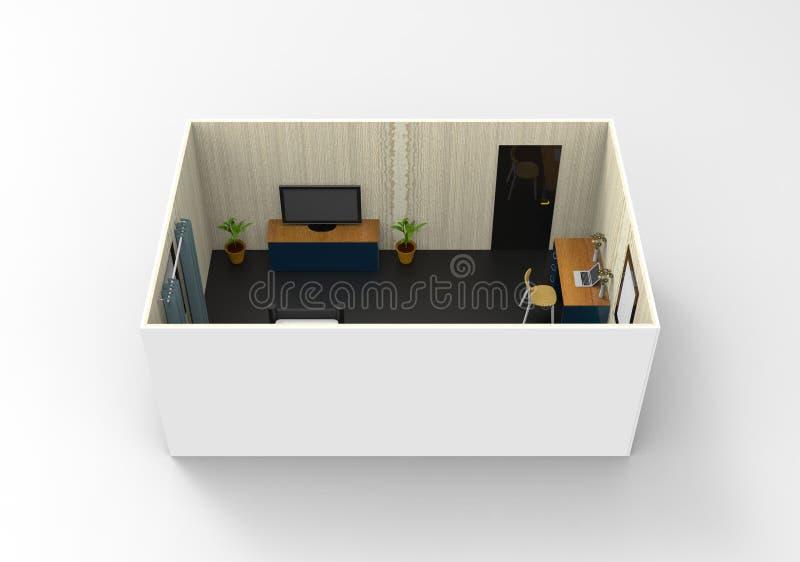 舒适室的简单的室内设计 向量例证