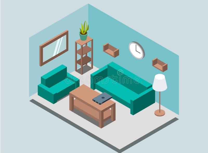 舒适家庭与书柜的客厅内部背景,机架,灯,植物,扶手椅子,沙发,壁钟,镜子,桌,膝上型计算机 库存例证