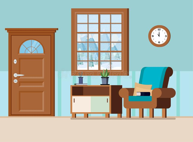 舒适家庭门厅内部背景传染媒介例证 向量例证