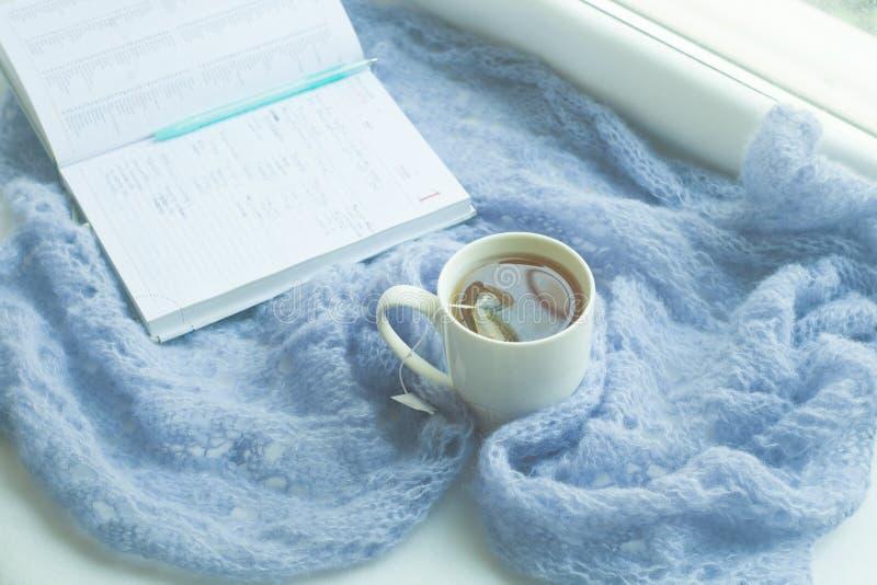 舒适家庭静物画:杯子热的茶,有温暖的格子花呢披肩的笔记本在反对外面雪风景的窗台 冬天概念,自由 库存照片