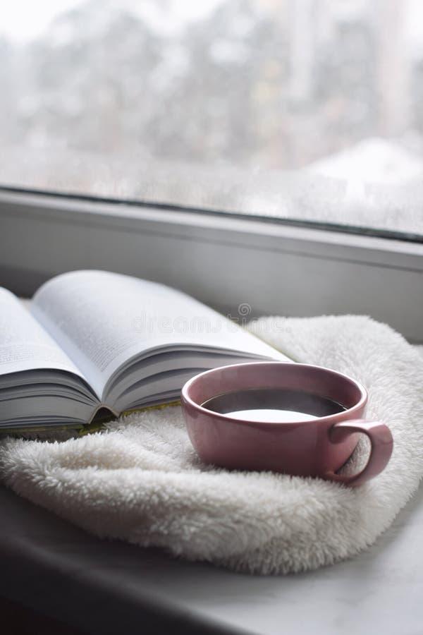 舒适家庭静物画:杯子热的咖啡和被打开的书与外面温暖的格子花呢披肩在窗台反对雪风景 库存照片