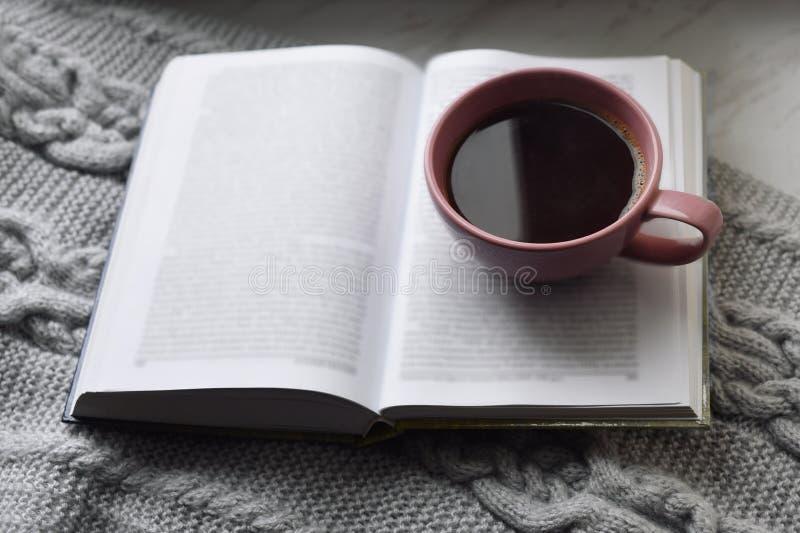 舒适家庭静物画:杯子热的咖啡和被打开的书与外面温暖的格子花呢披肩在窗台反对雪风景 库存图片