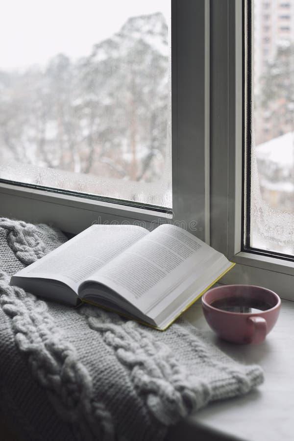 舒适家庭静物画:杯子热的咖啡和被打开的书与外面温暖的格子花呢披肩在窗台反对雪风景 免版税库存图片