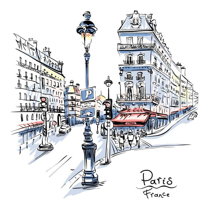 舒适巴黎街道,法国 向量例证