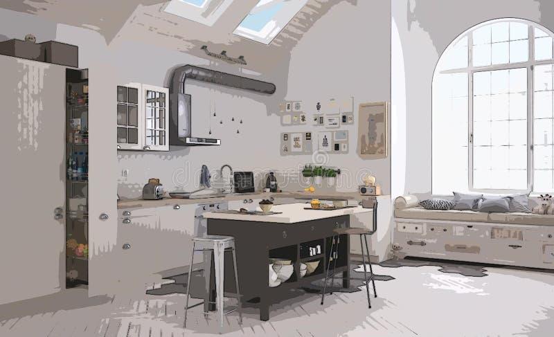 舒适现代厨房的动画片例证,室内设计 五颜六色的背景,与家具的公寓概念,数字 免版税库存图片