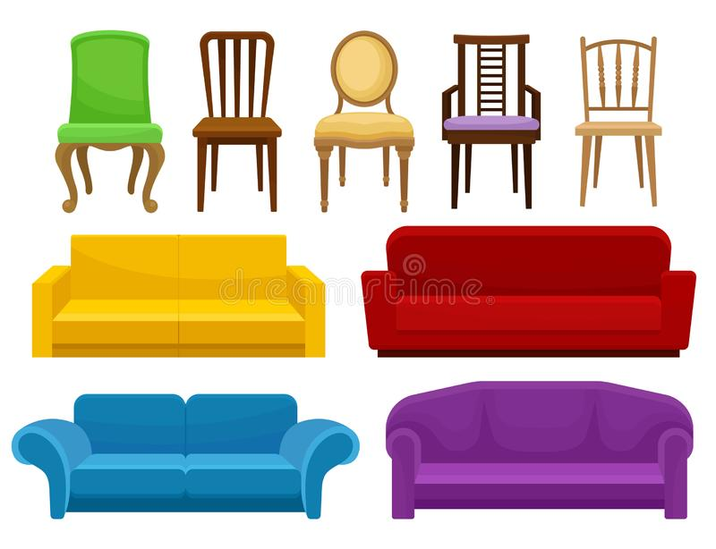 舒适的家具集合的汇集,椅子和沙发,室内设计传染媒介例证的元素在白色 向量例证