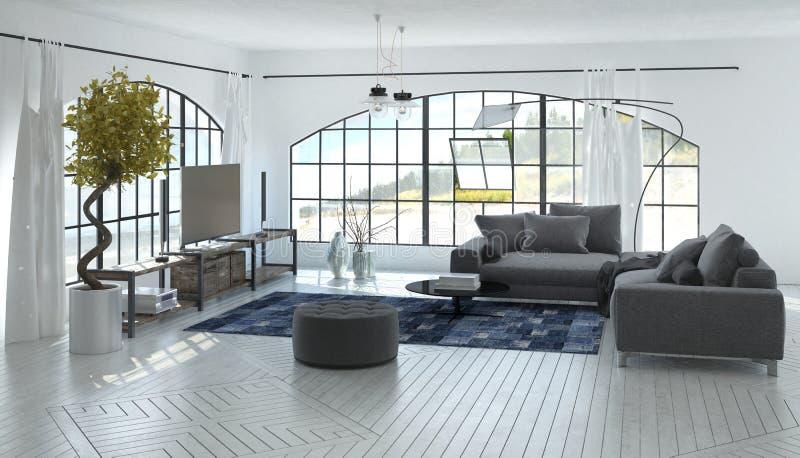 舒适的宽敞灰色和白色客厅 免版税库存照片