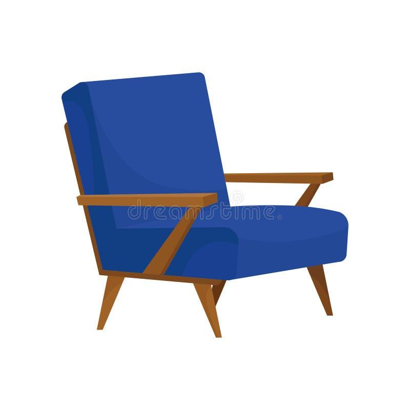 舒适的扶手椅子平的传染媒介象有软的蓝色室内装饰品、木胳膊和腿的 客厅的家具 向量例证