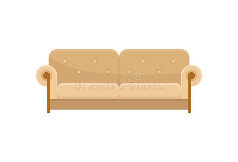 舒适的沙发,现代米黄长沙发,客厅家具在白色背景的传染媒介例证 向量例证