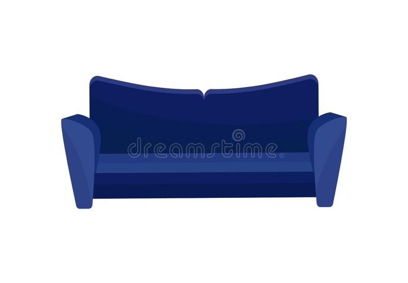 舒适的沙发,蓝色现代长沙发,客厅家具在白色背景的传染媒介例证 皇族释放例证