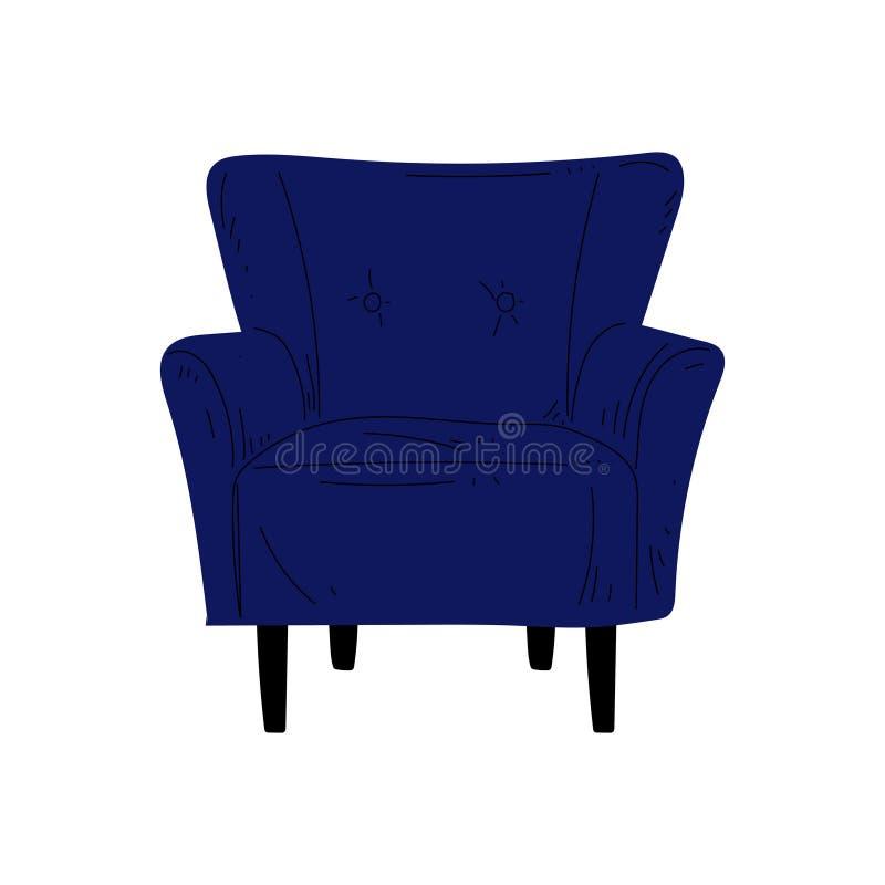 舒适的蓝色扶手椅子,有室内装饰品的,室内设计元素传染媒介例证被缓冲的家具 库存例证