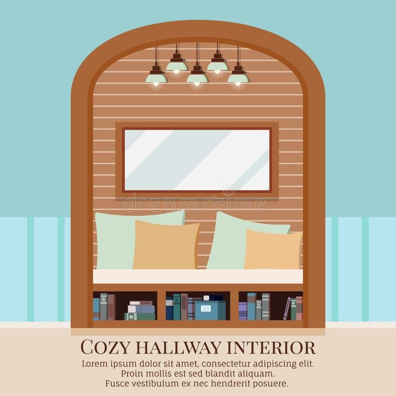 舒适简单的家庭与家具的走廊内部背景和在墙壁的被成拱形的凹进处 向量例证