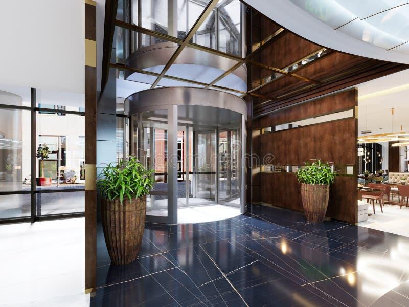 舒适酒吧餐馆现代内部  在时髦样式、现代用餐的地方和酒吧柜台的当代设计 皇族释放例证