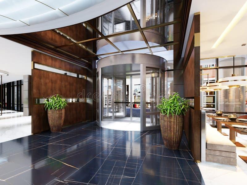 舒适酒吧餐馆现代内部  在时髦样式、现代用餐的地方和酒吧柜台的当代设计 库存例证