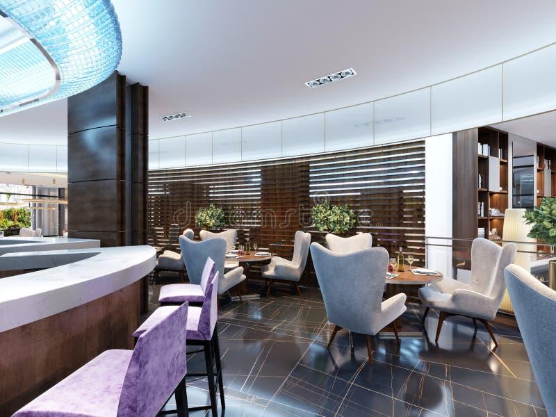 舒适酒吧餐馆现代内部  在t的当代设计 向量例证