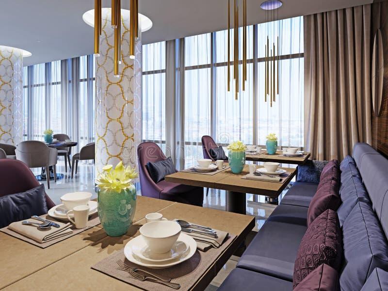 舒适餐馆内部  当代设计样式,现代用餐的地方 向量例证