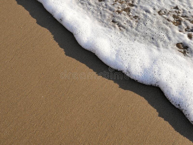舔反对在加利福尼亚海岸海泡沫的沙子和沙滩的波浪在夏天阳光旅行博克的,网站横幅下 库存图片