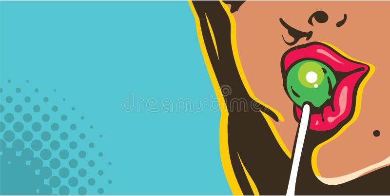 舔棒棒糖流行艺术样式横幅的妇女 向量例证