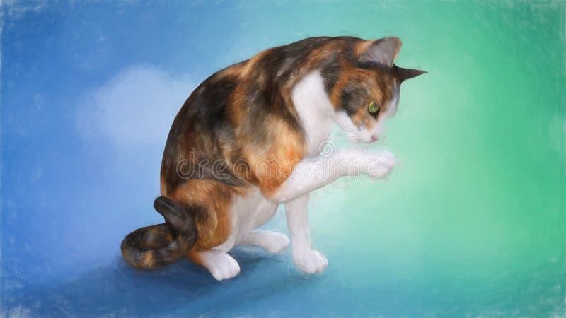 舔他的爪子的一只逗人喜爱的猫的绘画 库存照片