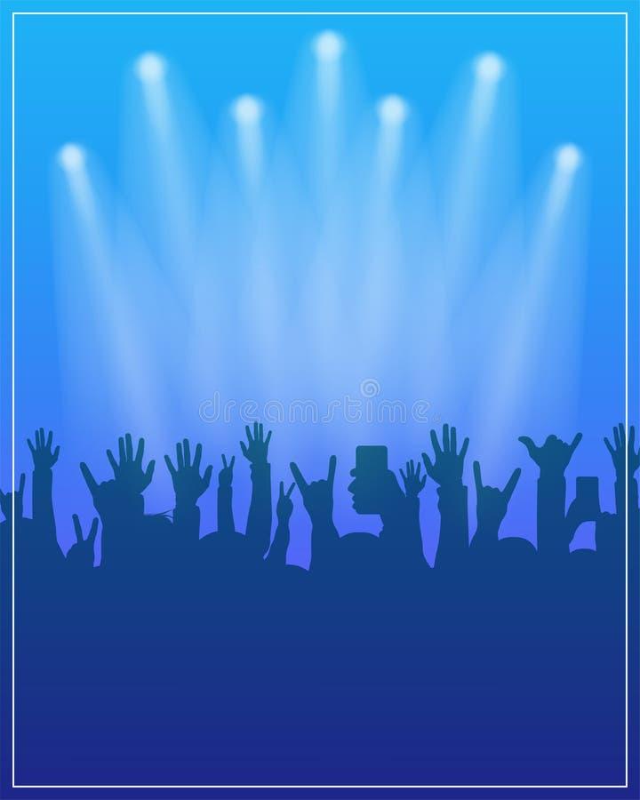 舞会海报模板 音乐会, dj集会或节日飞行物与人的设计模板在背景拥挤 向量例证