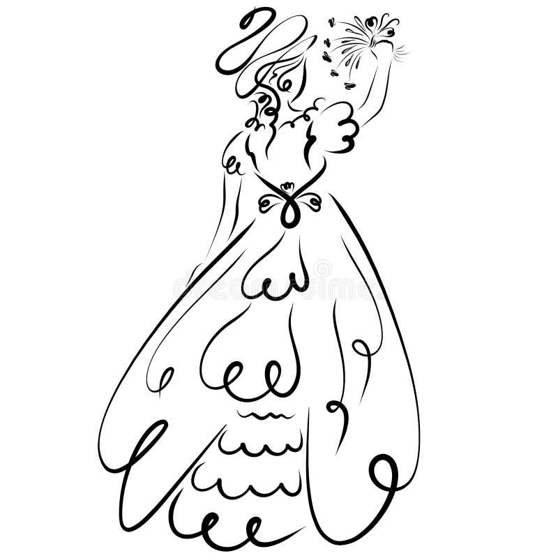 舞会礼服的美丽的夫人,与花花束  库存例证