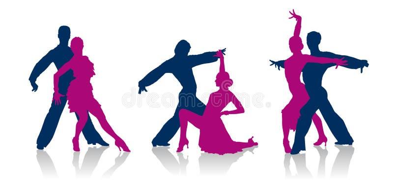 舞厅舞蹈家剪影 库存例证