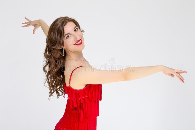 舞厅舞项目和想法 女性舞厅舞蹈家画象  图库摄影