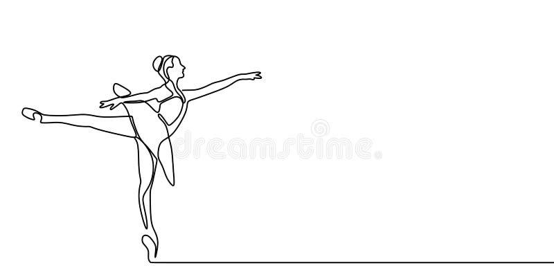 舞女连续的一线描在白色背景最低纲领派设计隔绝的传染媒介例证 皇族释放例证