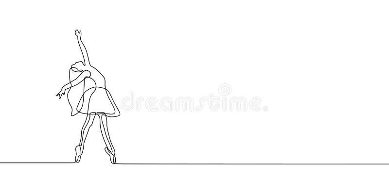 舞女连续的一线描在白色背景最低纲领派设计隔绝的传染媒介例证 库存例证